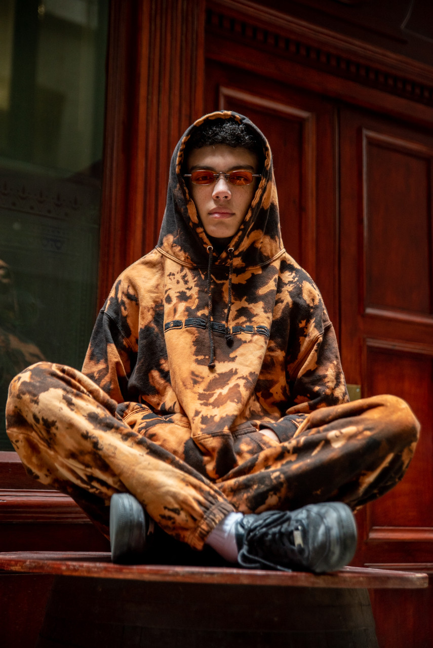 Black Flame Bleach Dye  Hoodie With Black DBDNS Embroidery