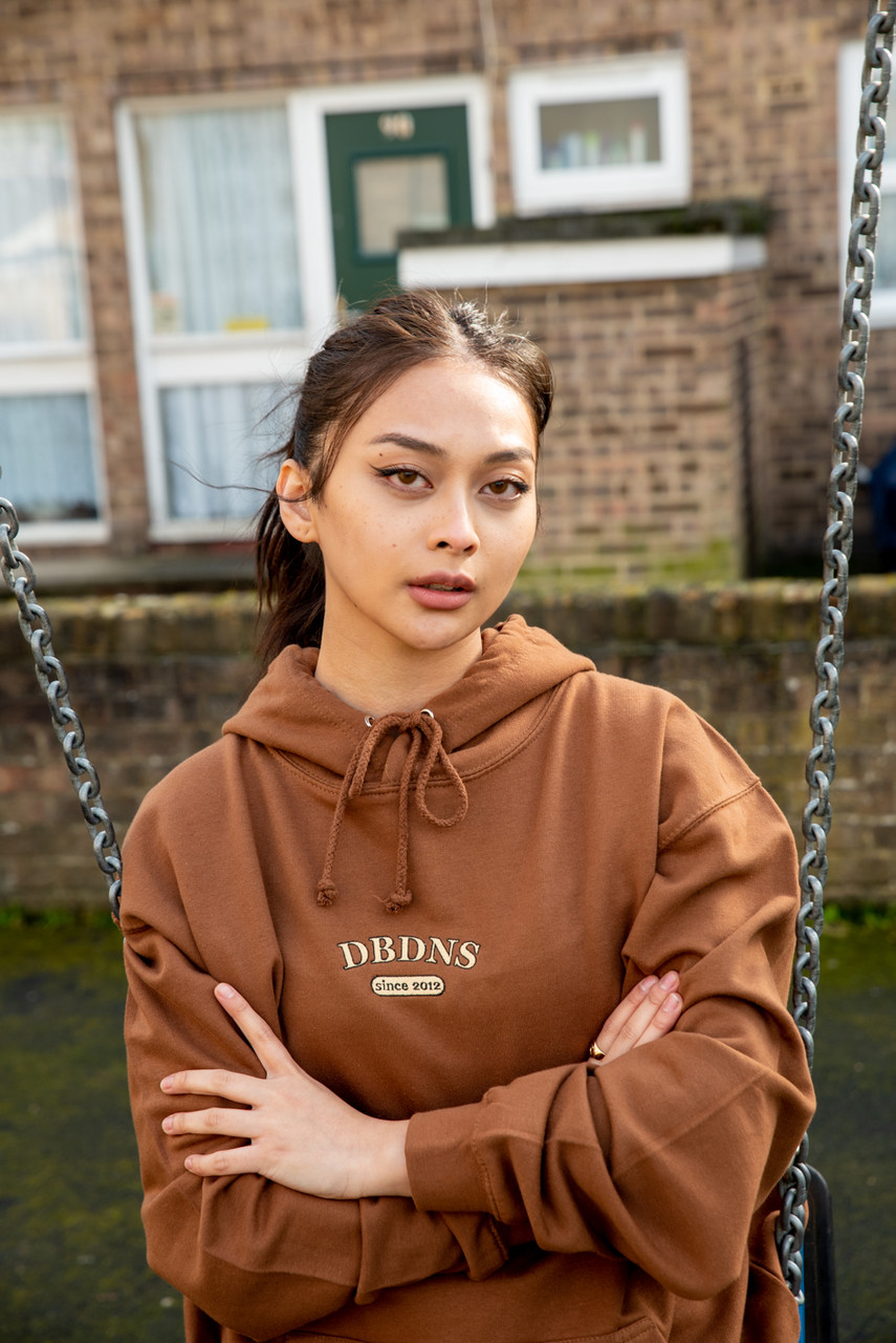 Hoodie In Caramel Toffee With College Logo Embroidery