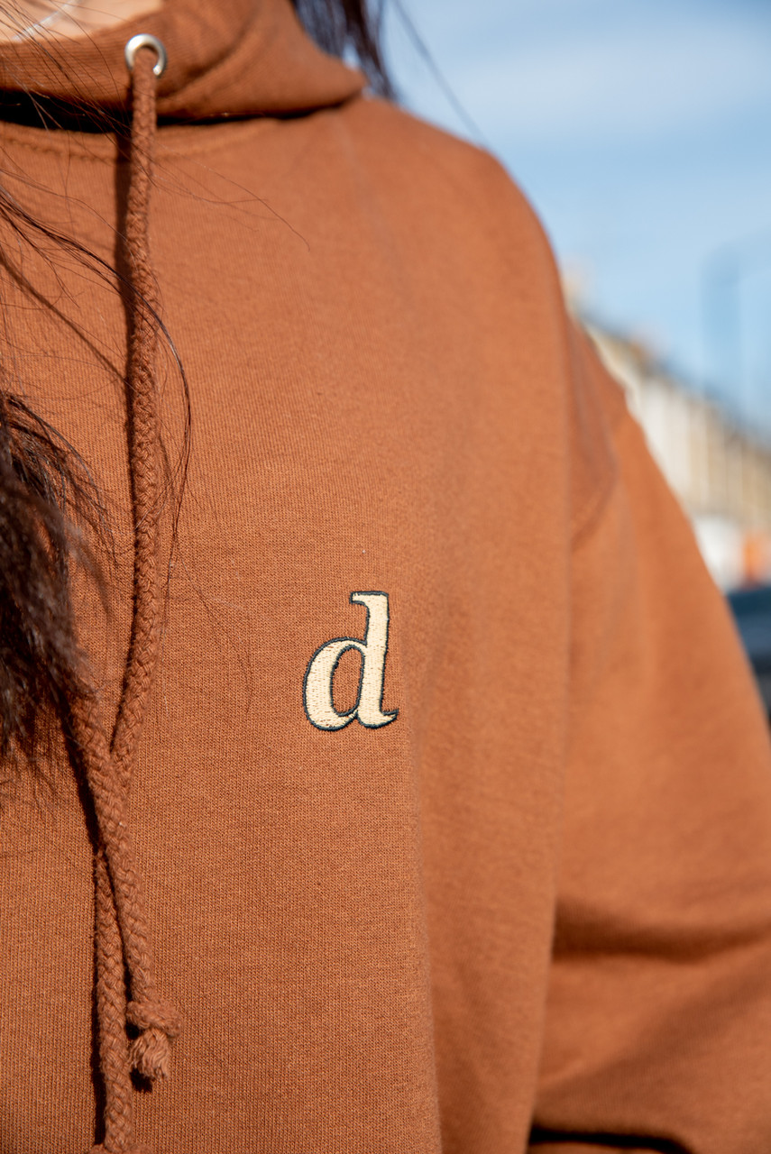 Hoodie In Caramel Toffee With Initials Embroidery
