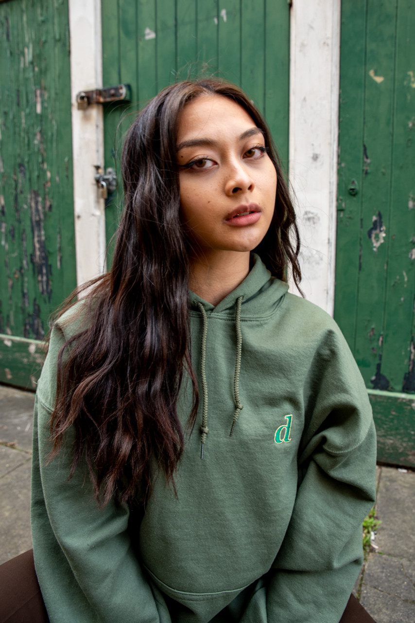 Hoodie In Military Green With Initials Embroidery