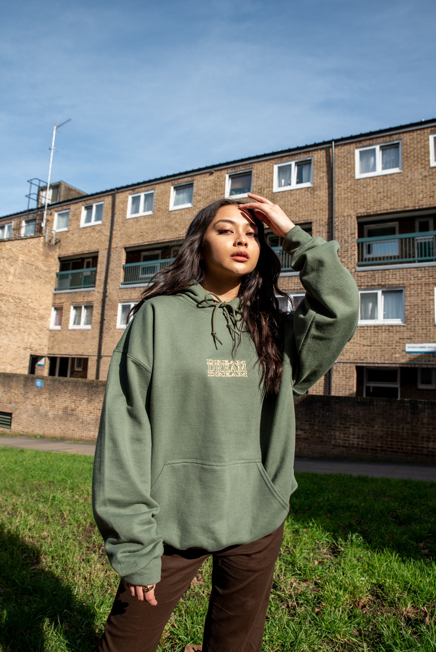 Hoodie In Military Green With Repeat Embroidery