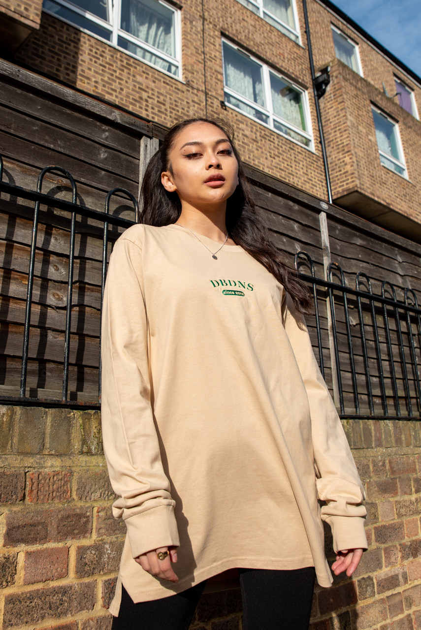 Long Sleeved T-Shirt In Tan With College Logo Embroidery