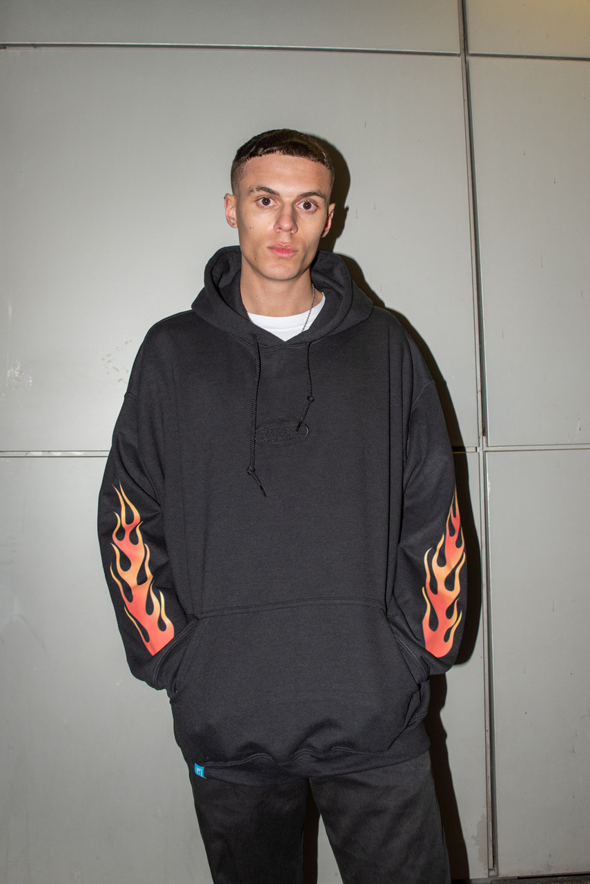 Hoodie in Black with Embroidered Tonal Logo and Flame Print Sleeves