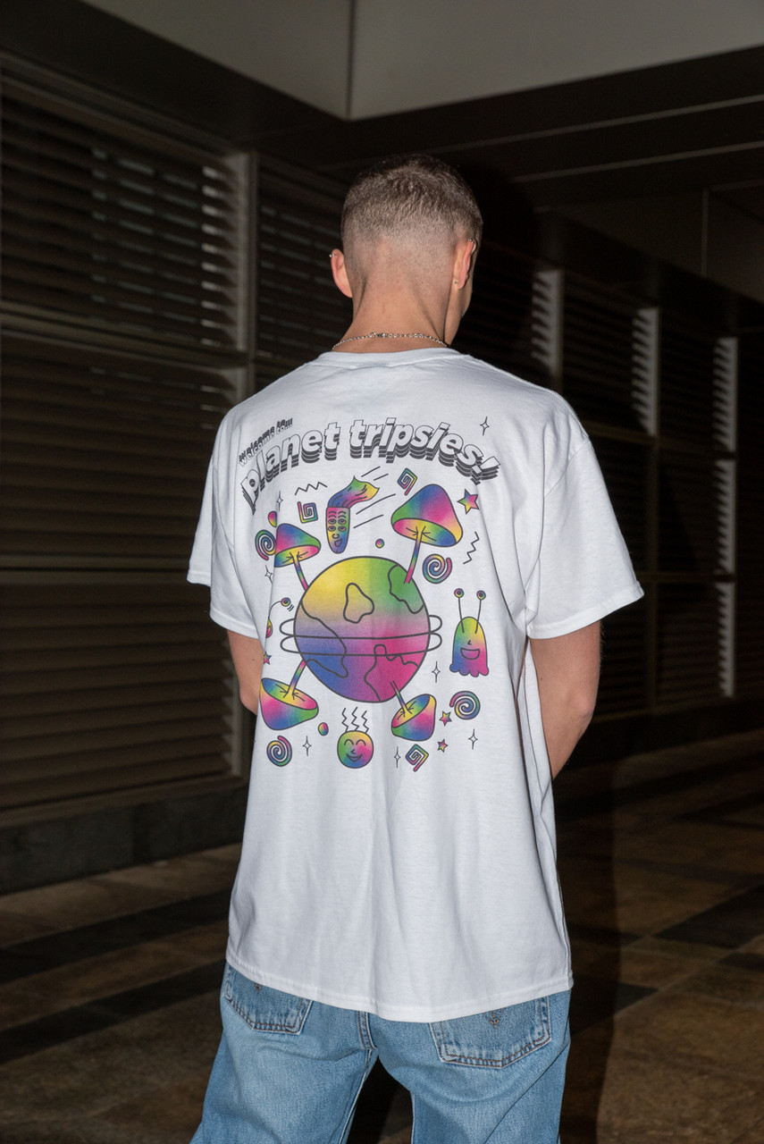 Short Sleeved T-shirt in White with Planet Tripsies Print