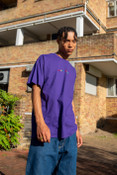 Short Sleeved T-Shirt in Dark Purple with Dream Sports Embroidery