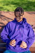 Hoodie in Dark Purple with Dream Sports Embroidery