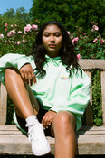 Hoodie in Mint With Catford Fruit Sticker Embroidery