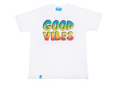 White Short Sleeved T-shirt With Good Vibes Print