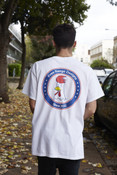 White Short Sleeved T-Shirt With Free Range Chicken Shop Print