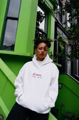 90s Logo Design On White Hoodie