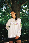 White Long Sleeved T-shirt With 80's Geometric Design