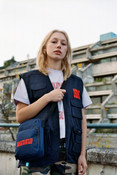 Navy Blue Cross Body Bag With DBDNS Embroidery