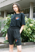 Black Shorts With Chinese Dragon Embroidery