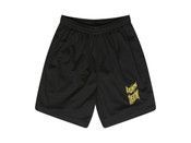 Black Shorts With Ups and Downs Smiles and Frowns Embroidery