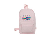 Pink Mini Backpack With Embroidered Sluurpee Design