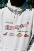 White Hoodie With Printed Sluurpee Design