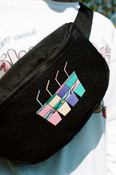 Black Oversized Bum Bag With Embroidered Sluurpee Design