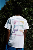 White Short Sleeved T-shirt  With Super Soaker Print