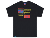 Black Short Sleeved T-shirt With Rave Flyer Print