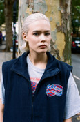 Navy Blue Fleece Gilet With Dream Into The Future Embroidery