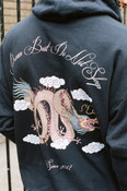 Hoodie In Black with Chinese Dragon print