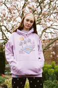 Hoodie In Lilac With 80s California Palm Print