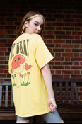 Short Sleeved T-shirt In Yellow With Sup Bro Mushroom Print