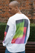 Long Sleeved T-shirt In White With Light Leak Print
