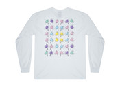 Long Sleeved T-shirt In White With Tropical Palm Tree Print