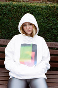Hoodie In White With Light Leak Print