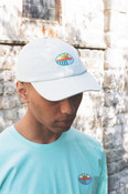 Cap In Pastel Mint Green With Embroidered Fruit Sticker