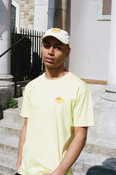 Cap In Pastel Yellow With Embroidered Fruit Sticker