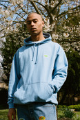 Hoodie in Cornflower Blue with Fruit Sticker Embroidery