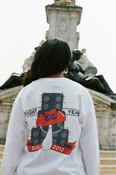 Long Sleeve T-shirt in White with Bro Shroom Est 2012 Print