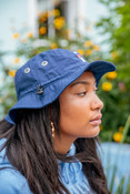 Bucket Hat In Navy With Embroidered Bro Shroom