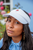Visor In White With Embroidered Bro Shroom