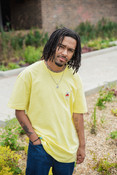 Short Sleeve Tshirt in Yellow with Bro Shroom Embroidery