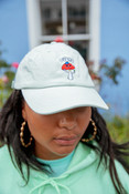 Cap In Pastel Mint With Embroidered Bro Shroom