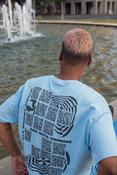Short Sleeve Tshirt in Blue with QR Code Print