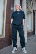 Joggers in Black with Embroidered Logo Design