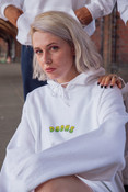 Hoodie in White with Apple Bubble Logo Print