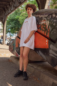 Tshirt in White with Watermelon Bubble Logo Print