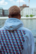 Hoodie in White with Square Geometric Logo Print