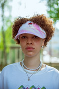 Tie Dye visor In White With Embroidered Bro Shroom
