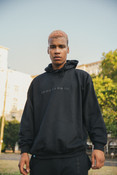 Hoodie in Black with Black Logo Embroidery