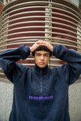Fleece In Navy With Purple DBDNS Embroidery