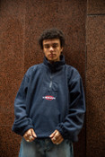 Fleece In Navy With Dream Globe Embroidery