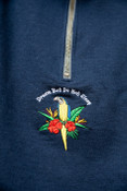 1/4 Zip Sweatshirt In Navy With Paradise Island Parrot Embroidery