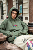 Green Hoodie With Dream Casino Embroidery