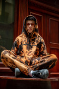 Black Flame Bleach Dye Joggers With Black DBDNS Embroidery